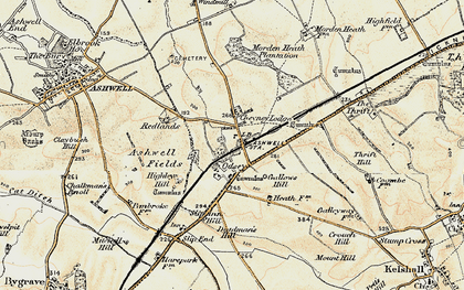 Old map of Ashwell & Morden Sta in 1898-1901