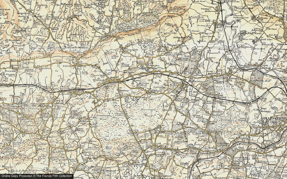 Old Map of Historic Map covering Aldon in 1897-1898