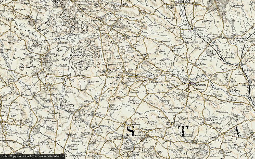 Old Map of Historic Map covering Lea Knowl in 1902
