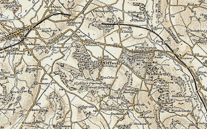 Old map of Offwell in 1898-1900