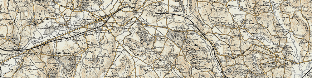 Old map of Widworthy Court in 1898-1900