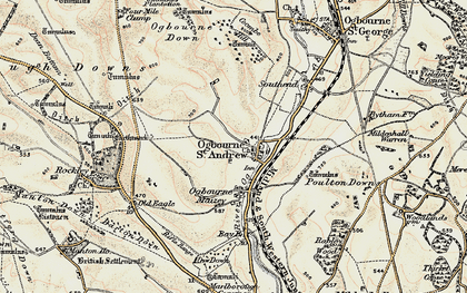 Old map of Ogbourne St Andrew in 1897-1899