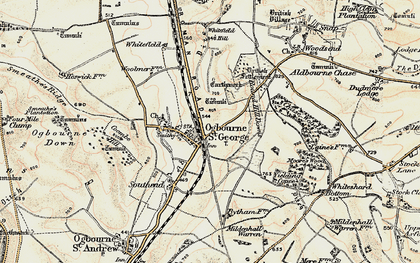 Old map of Ogbourne St George in 1897-1899