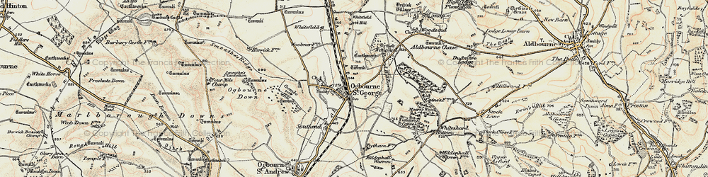 Old map of Yielding Copse in 1897-1899