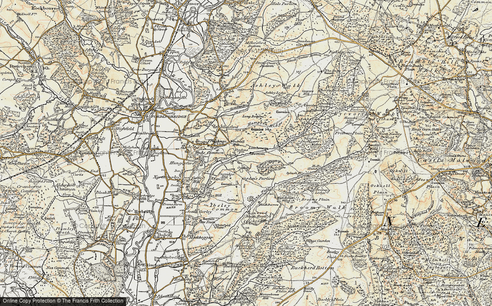 Old Map of Historic Map covering Alderhill Inclosure in 1897-1909