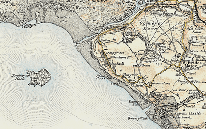 Old map of Ogmore-by-Sea in 1900-1901