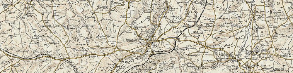 Old map of Okehampton in 1899-1900