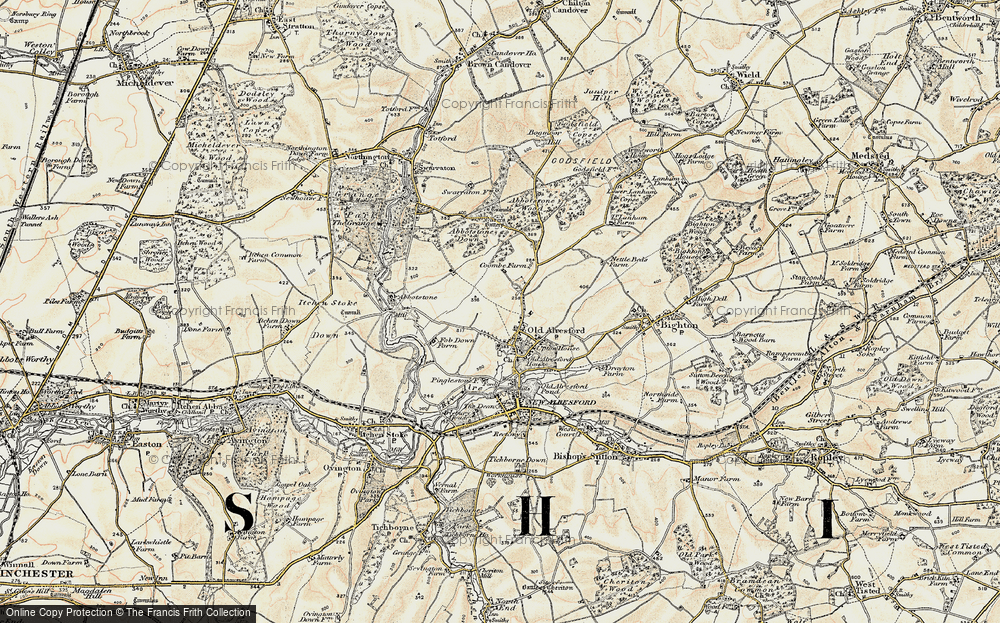 Old Map of Historic Map covering Abbotstone Woods in 1897-1900