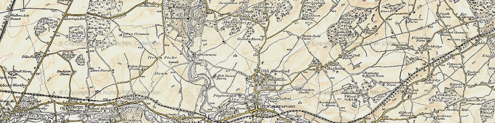 Old map of Abbotstone Woods in 1897-1900