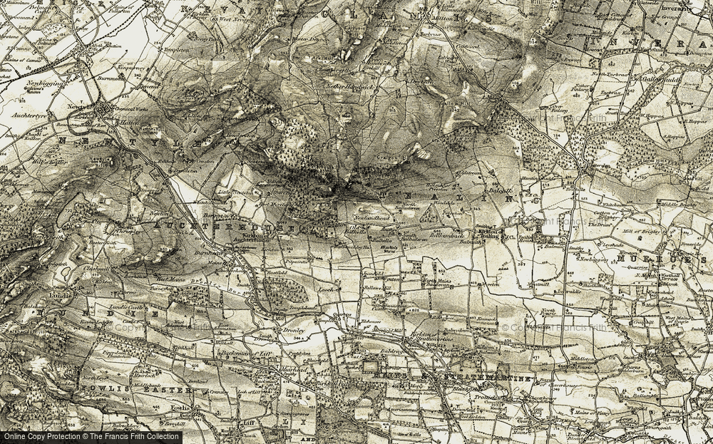 Old Map of Historic Map covering Balkello in 1907-1908