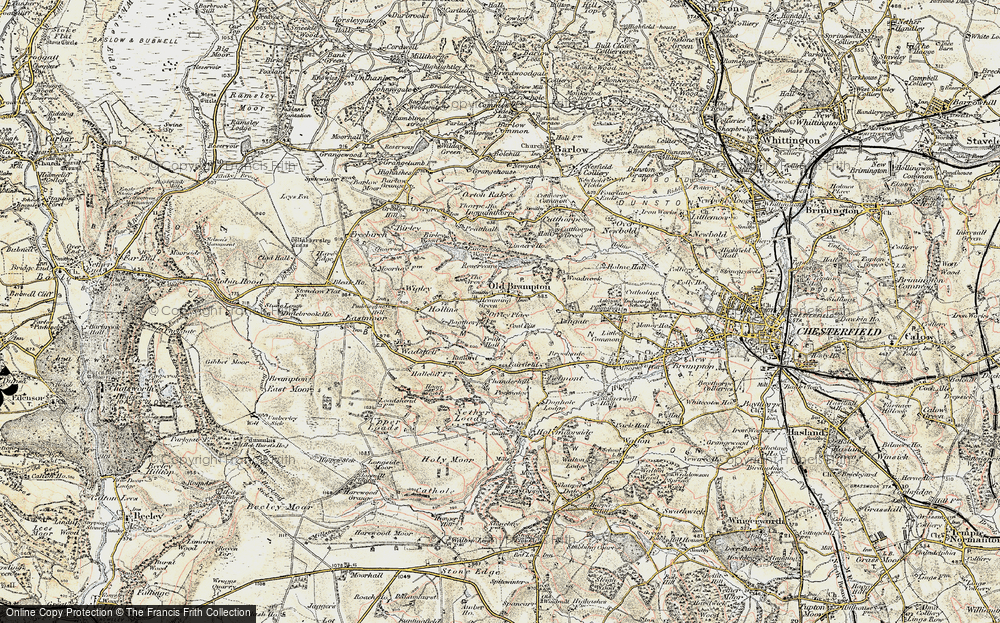 Old Map of Historic Map covering Linacre Wood in 1902-1903