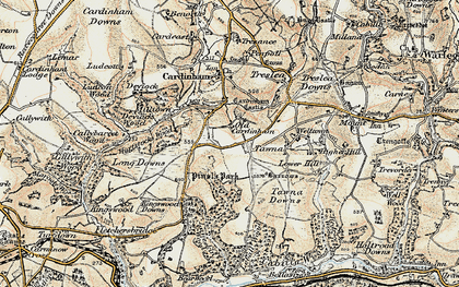 Old map of Old Cardinham Castle in 1900