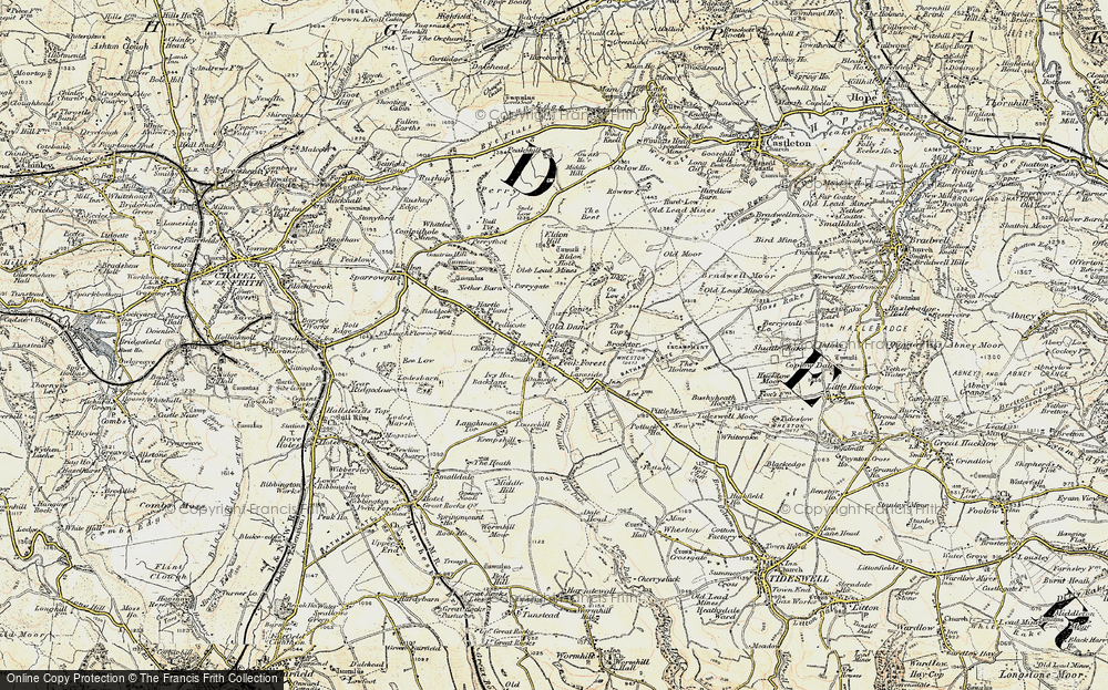 Old Map of Historic Map covering Laughman Tor in 1902-1903