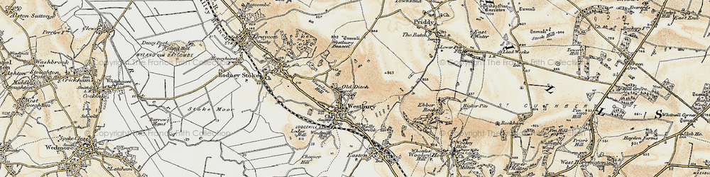 Old map of Westbury Beacon in 1899