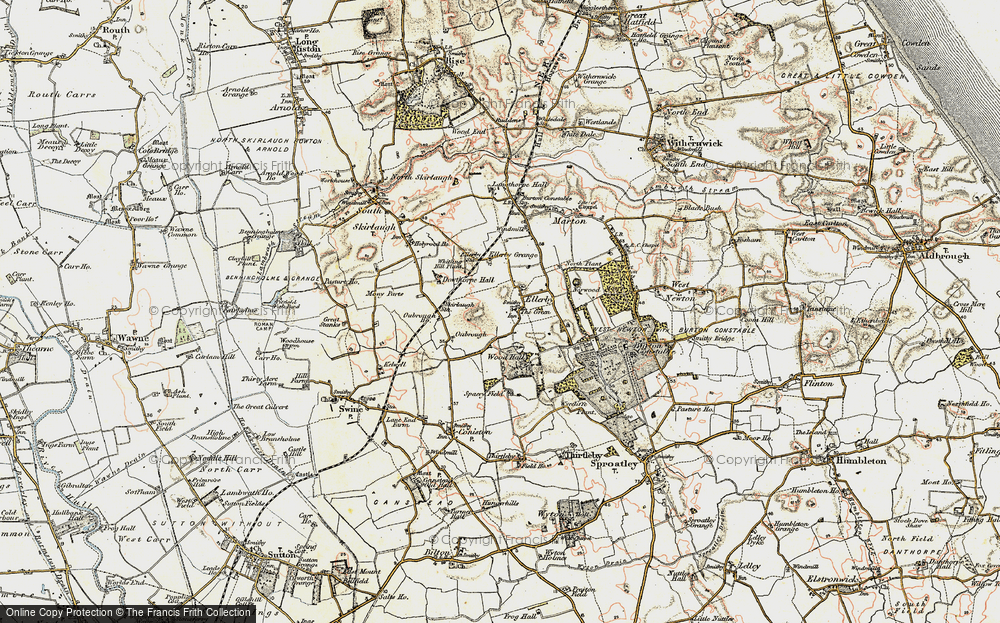 Old Map of Historic Map covering Wood Hall in 1903-1908