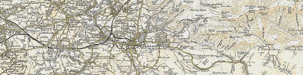 Old map of Yellowslacks Brook in 1903