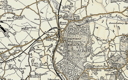 Old map of Old Hatfield in 1898