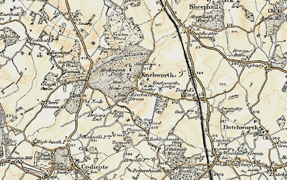 Old map of Old Knebworth in 1898-1899