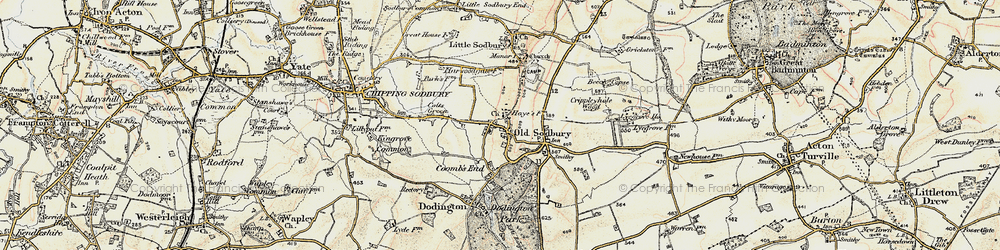 Old map of Old Sodbury in 1898-1899