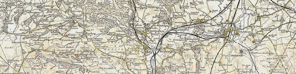 Old map of Old Whittington in 1902-1903