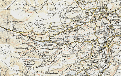 Old map of Withins Slack in 1903-1904