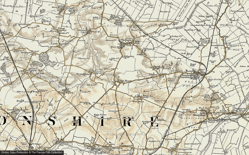 Old Map of Oldhurst, 1901 in 1901