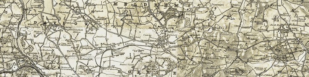 Old map of Whitefield in 1909-1910