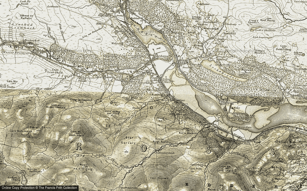 Old Map of Historic Map covering Allt Eiteachan in 1911-1912