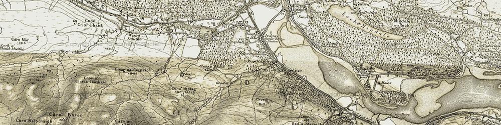Old map of Allt Eiteachan in 1911-1912