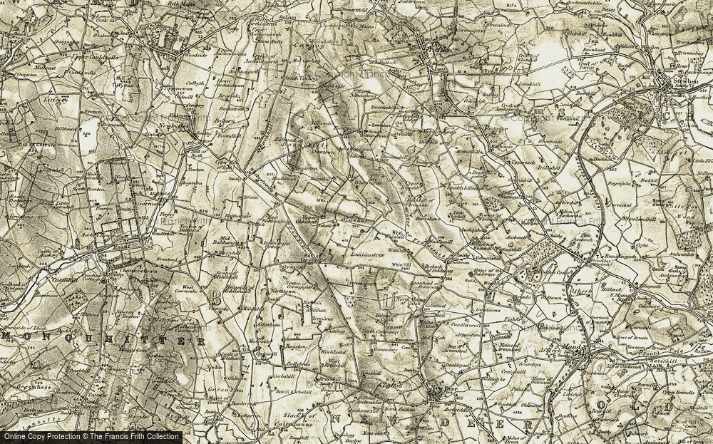 Old Map of Historic Map covering Alehousehill in 1909-1910