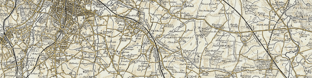 Old map of Olton in 1901-1902
