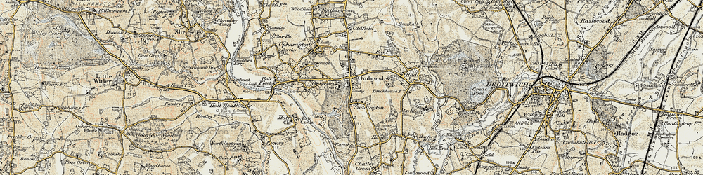 Old map of Ombersley in 1899-1902