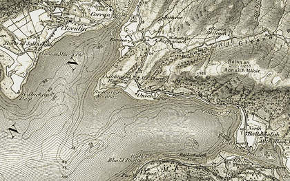 Old map of Onich in 1906-1908