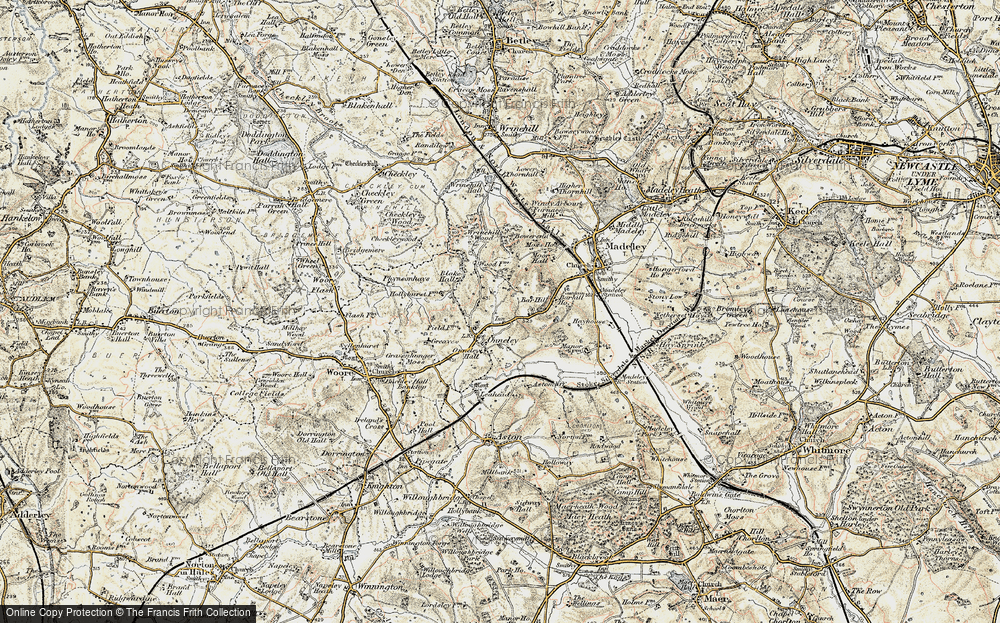 Old Map of Onneley, 1902 in 1902
