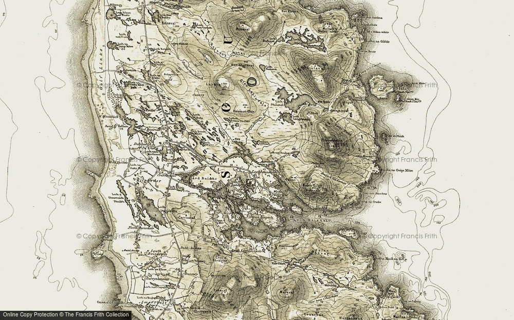 Old Map of Historic Map covering Abhainn Aimas in 1911