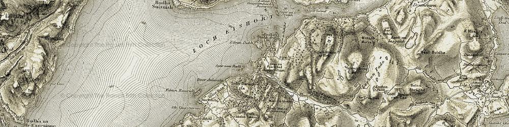Old map of Allt a' Chinn Mhòir in 1906-1908