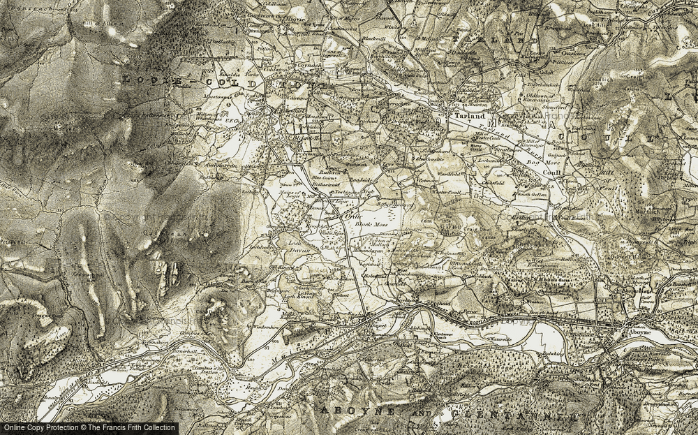Old Map of Historic Map covering Tillyhermack in 1908-1909