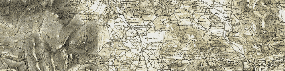 Old map of Wester Coull in 1908-1909