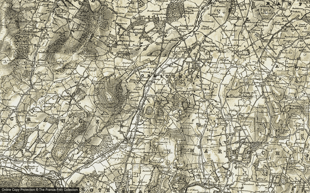 Old Map of Historic Map covering Wether Hill in 1910