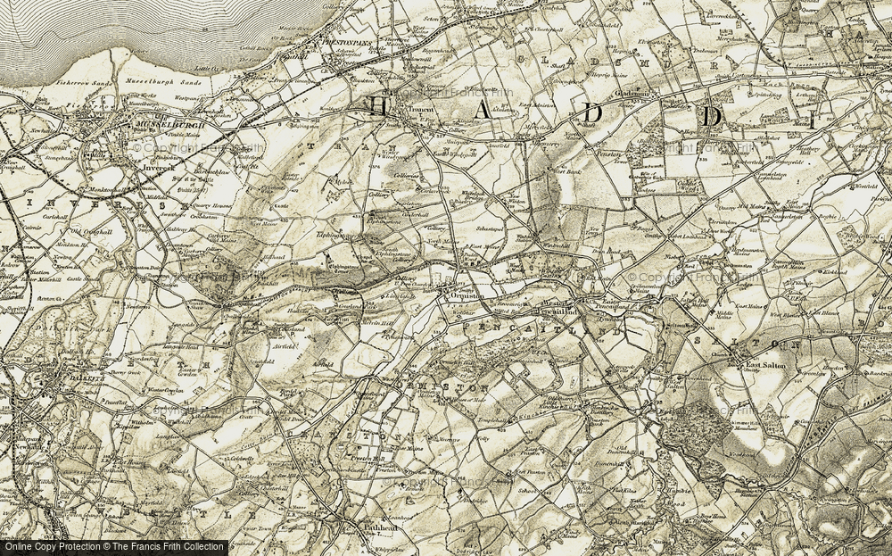 Old Map of Historic Map covering Woodhall in 1903-1904