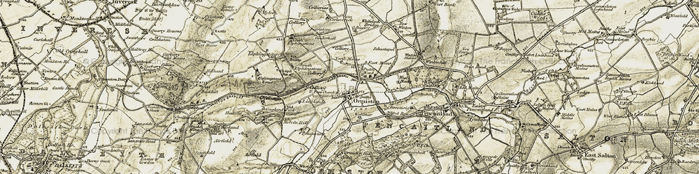 Old map of Woodhall in 1903-1904