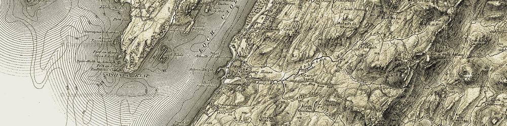 Old map of Allt Airigh Sheileach in 1905-1907
