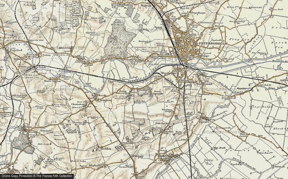 Old Map of Orton Longueville, 1901-1902 in 1901-1902
