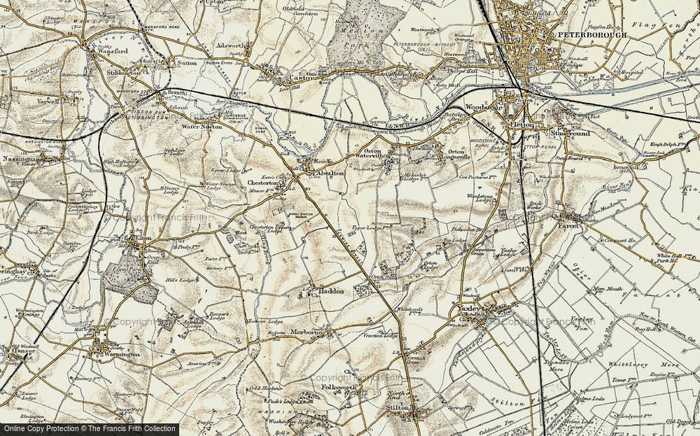 Old Map of Historic Map covering Toon's Lodge in 1901-1902