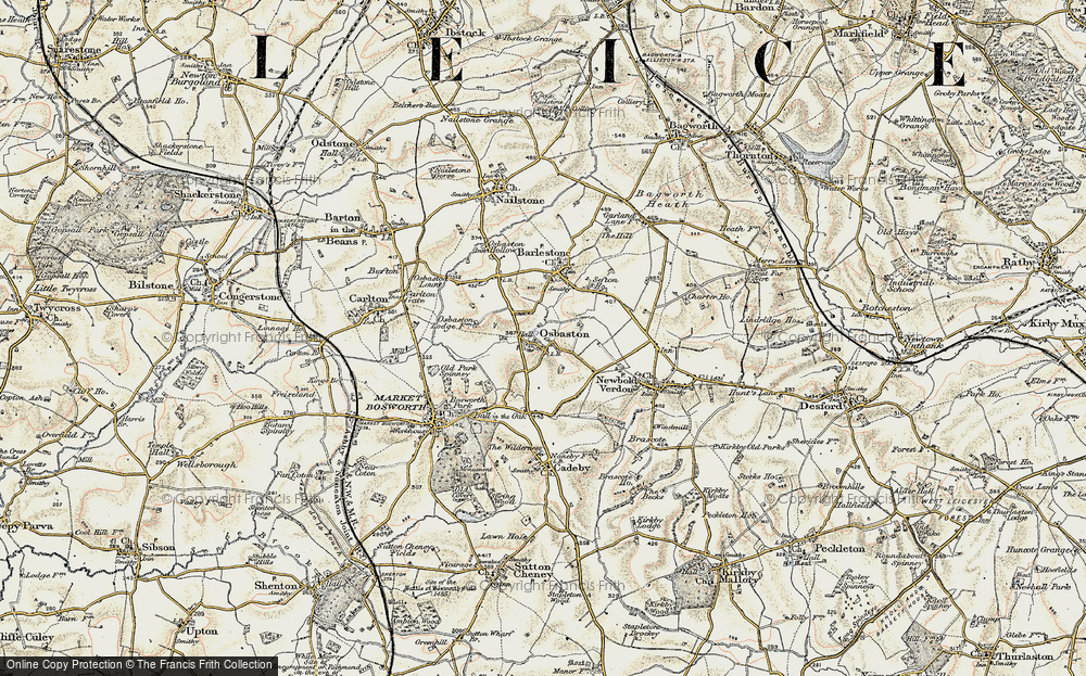 Old Map of Osbaston, 1901-1903 in 1901-1903