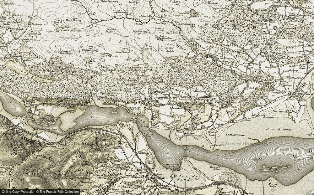 Old Map of Historic Map covering Bardnabeinne in 1911-1912