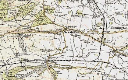 Old map of Oswaldkirk in 1903-1904