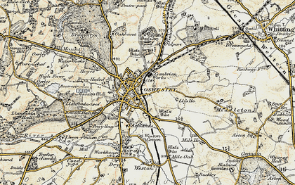 Old map of Oswestry in 1902
