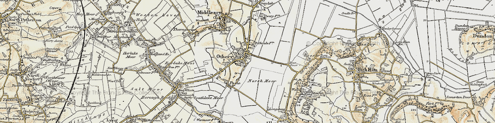 Old map of Othery in 1898-1900