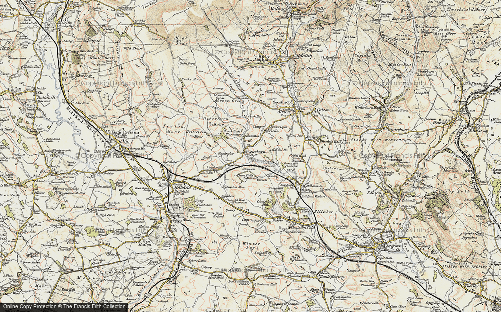 Old Map of Historic Map covering Airton Green in 1903-1904